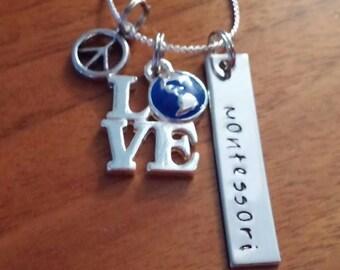 Peace Love Montessori necklace