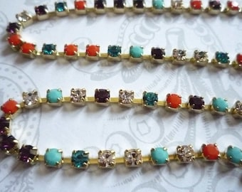 3mm Multi-Color Rhinestone Chain - Brass Setting - Preciosa Czech Crystals - Turquoise Coral Aqua Clear Purple