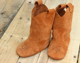 Leather Kids Shoes and Booties - Baby Shoes - Brown Leather Suede Cowboy Boots - Baby Girl Shoes - Toddler Shoes - Kids Boots - Boys Boots