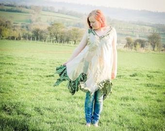 Dusky gold tunic dress. Silk, satin & chiffon mini-dress. Patchwork and frills bohemian festival clothing or luxury fairy dress