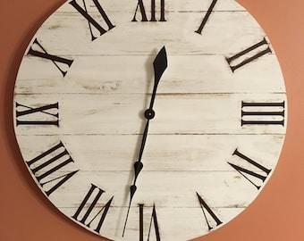 Large White Rustic Wood Clock - Pallet Clock - Reclaimed Wood Clock - Large Wall Clock - Unique Wall Clock - Farmhouse Clock