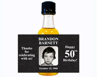 Custom Liquor Mini Bottle Labels - Adult Birthday Favors - Personalize with Custom Text, Color, & Image - Mens 50 Birthday Party Celebration