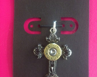 Bullet jewelry necklace cross pendant with Black silver 9mm 45 auto 38 special ammo shotgun shell casing