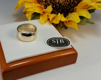 Wide Bands, 14k Yellow Gold Bands, 14k Stackable Wide Wedding Bands, 9.25mm Wide Yellow Gold Rings, 14k Yellow Gold Wide Band, #C220, Sz6.5
