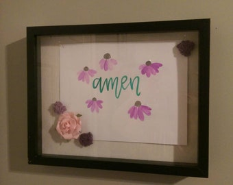 Hand drawn and painted watercolor in shadow  box frame with accent flowers
