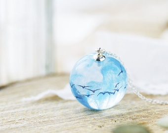 Murmuration Necklace - Sterling Silver - Flock of Birds, Swallow Necklace, Resin Jewelry , Gifts for Her , Seagull Necklace , Something Blue