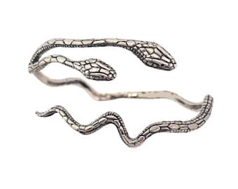 Snake Bracelet    Two Headed Cuff Conjoined silver gold serpent