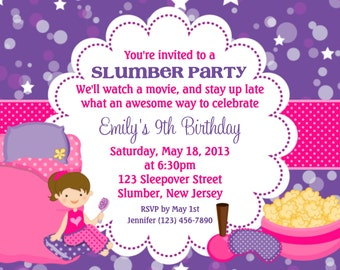 Slumber Party Invitation - Personalized Custom Sleepover Slumber Party Birthday Invitation Print Your Own