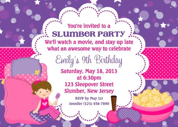 Items similar to Slumber Party Invitation Personalized Custom