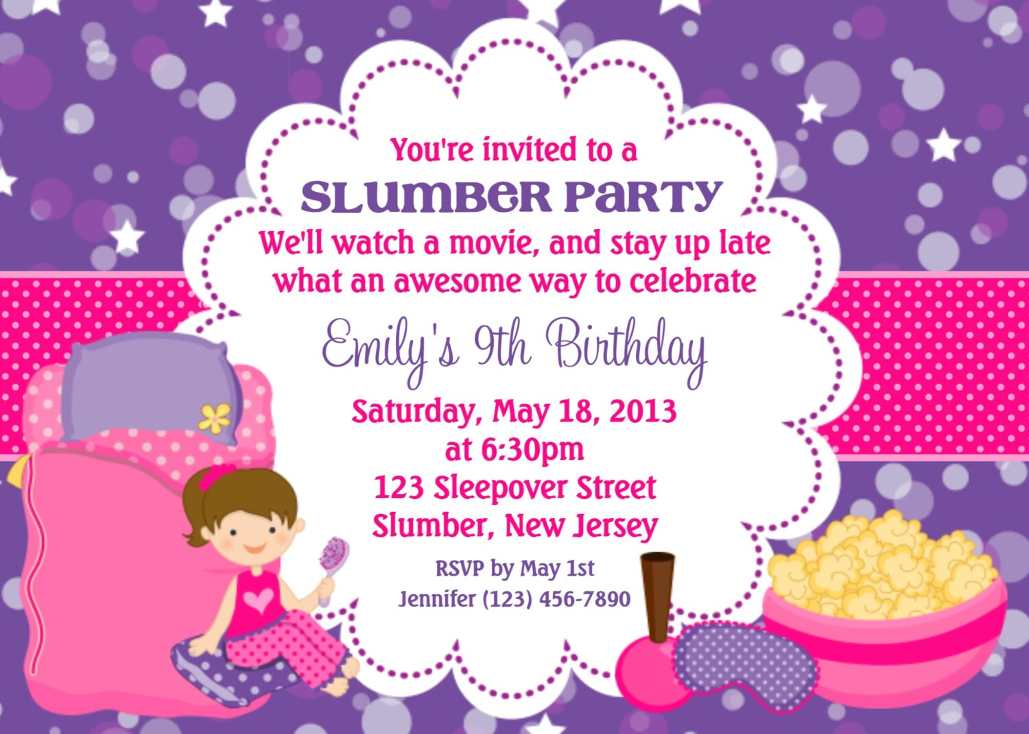Slumber party invitation personalized custom sleepover zoom stopboris