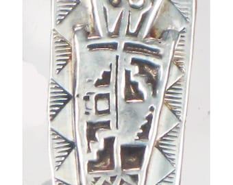 Shaman Tribal Spirit Talisman - Kiln Fired Fine Silver Southwest Petroglyph Shaman Pendant Gift - Pagan Shaman Tribal Fine Silver Pendant