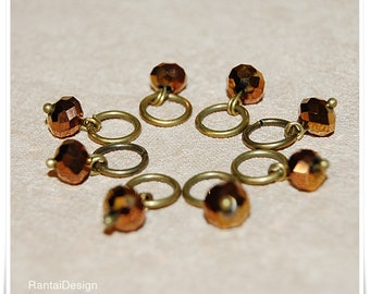 Stitch markers for knitting with crystal cut beads