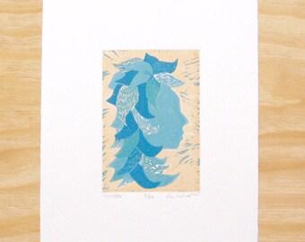"Woodblock Print - ""Winter"" - Woman Head Seasons - Art Printmaking"