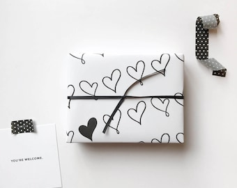Gift Wrap. Hearts Gift Wrap. Wrapping Paper. Black and White. Hearts.