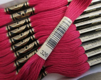Very Dark Rose #326, DMC Cotton Embroidery Floss - 8m Skeins - Skeins are Available Individually, in Larger Pkgs & in Full (12-skein) Boxes