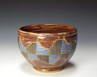 Small brown ceramic bowl, small serving bowl, small mixing bowl, large cereal bowl, hand carved pottery