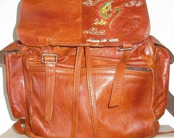 Vintage 90s  Large Leather Rucksack