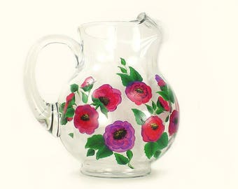 Purple and Pink Poppies Beverage Pitcher Colorful Pink Purple Poppies Hand Painted Pitcher Serving Pitcher Iced Tea Pitcher Birthday Gift