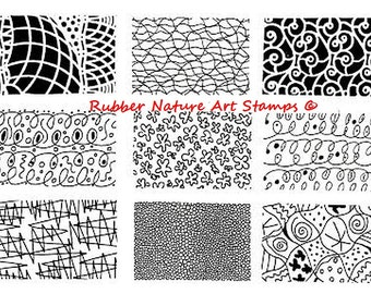 9 Unmounted Texture Rubber Stamps - Unique Deep Etched Flexible Stamps for Paper, Clay, PMC, Fabric and more!