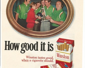 1973 Advertisement Winston Cigarettes Smoking 70s Gold Red Tobacciana Bowling Team League Bowler How Good Collecting Room Wall Art Decor
