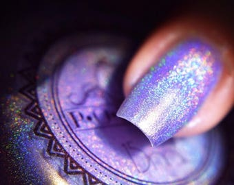 "P•O•P Polish Indie Nail Polish Mega Holo  Holographic ""Waltz Of The Flowers."" Purple Lacquer Indie Linear Rainbow Sparkle Glitter Shine"