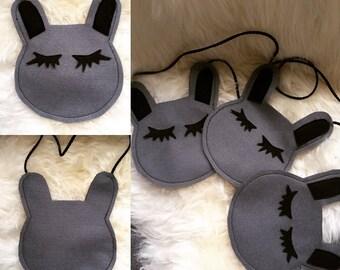 Children's felt rabbit crossover bag