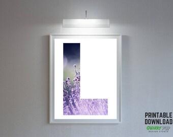 """Floral Letter """"L"""" - Digital Print for Instant Download"""