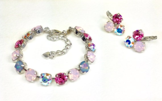 """Swarovski Crystal 8.5mm Bracelet - """"Pink Medley """" With White Opal Rainbow Accents - Stunning and Classy    Designer Inspired - FREE SHIPPING"""