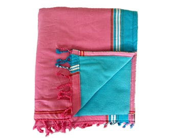 Kikoy Towel Pink with Turquoise backing