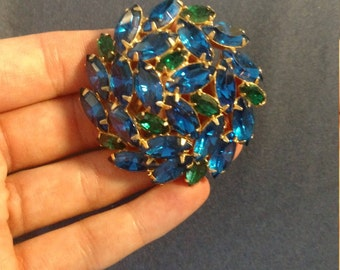 """Vintage Rhinestone Cluster Blue and Green Brooch Pin - 2"""""""