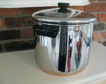 Vintage 1801 Revere Ware Stainless Steel 8 QT Stock Pot Pan Copper Clad Bottom Pat Pending Pre-1968