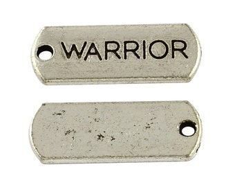 Word Charms Word Pendant Warrior Charms Silver Word Charms Message Charms Charms with Words Bulk Charms Wholesale Charms 50 pieces