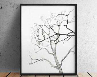Instant Download / Digital Modern Tree Branches Art / Scandinavian Art / Contemporary Minimalist Tree print / Grey and White