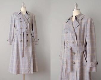 80s Coat  // 1980's Aquascutum Plaid Wool Blend Trench Coat // M-L