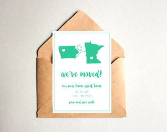 States Custom We've Moved Announcement Printable-New Home Sweet Home-Change Of Address Card-DIY Digital Download