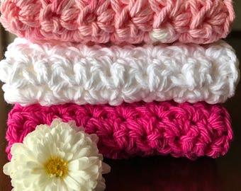 Cotton Washcloth Set of 3, 100% Cotton Washcloth, Crochet Washcloth, Spa Washcloth, Eco-Friendly Washcloth, Pink Washcloth