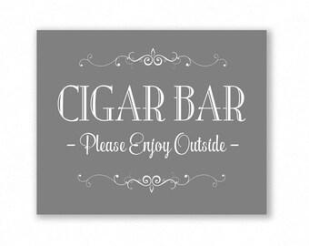 Grey Printable Cigar Bar Sign, Wedding Sign, Party, #CG11Y