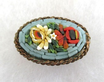 Vintage Italy Micro Mosaic Pin / Brooch - Antique Micromosaic Flower Pin, Gold Tone Setting