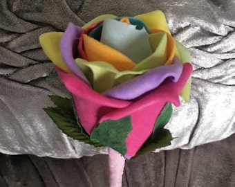 Artificial Rainbow Rose Buttonhole/Boutonniere with Baby Pink Ribbon, Groom, Bestman, Groomsmen, Ring bearer, Wedding guests