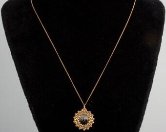24k Karat Beaded Swarovski Crystal Pendant, 14k Karat Gold Filled Chain Necklace. Emerald Green / Blue Crystal Stone Delicate Chain S-66