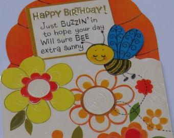 Vintage 70s American Greeting ~ Birthday ~ Bee Flowers Beehive