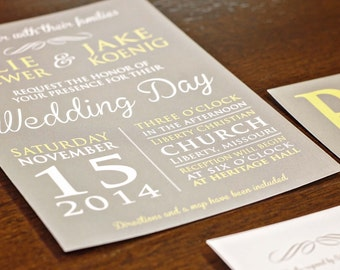 Grey and Yellow Wedding Invitation Suite