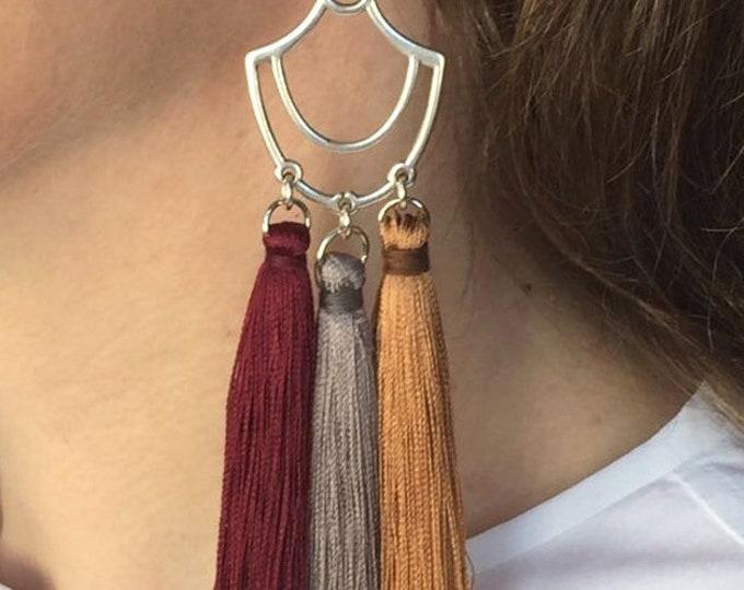 Tassel drops, Silver tassel drop earrings with burgundy, grey and ochre tassels