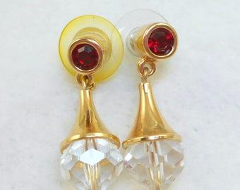 Red Rhinestone Crystal Drop Earrings - Swarovski
