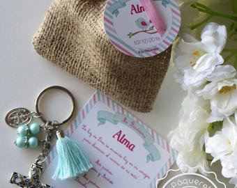 Baptism or First Communion favors: favor card with burlap sack & key-ring