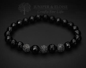 Beaded Bracelet, Mens Bracelet, artisan Jewelry for men, Matte Bracelet, Onyx Bracelet, Watch and bracelet , Disco Ball, ブレスレット , Armband