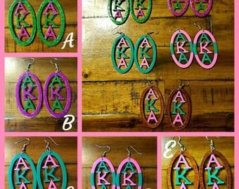 AKA Earrings- Sorority Earrings-AKA-H.B.C.U. Earrings-Black Sororities and Fraternities- Black Sorority- HBCU-Wooden Earrings- Qty: 1 pair