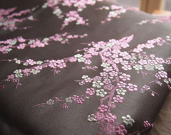 Beautiful embroidered Brocade oriental spirit Ume taupe and pink