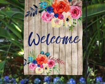 Welcome Garden Flag~ Garden Flag~ Fall Decor ~ Wood Floral ~ Floral Garden Flag~ House Flag ~ Housewarming Gift