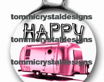 "1.5"" Happy Camper Soldered Art Collage Airstream Charm"